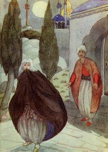 Illustration by Anne Anderson of the Story Sidi Nouman from One Thousand and One Nights