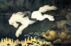 Boy on White Horse by Theodor Kittelsen