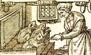 Woodcut of a witch feeding demonic imps