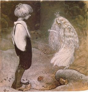 Illustration of a pixie by John Bauer