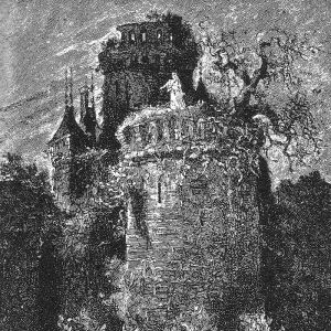 Engraving by Léon Benett for the novel Le Château des Carpathes by Jules Verne 1892