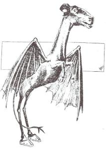 Sketch of the Jersey Devil from the Philadelphia Post (1909)