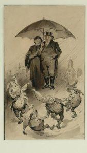 Illustration by Nils Bergslien depicting tomtes