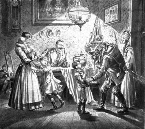 St. Nicholas and the Kramus visit a Viennese home, newspaper illustration from 1896