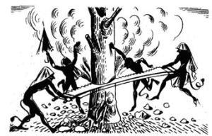 Greek illustration of Kallikantzaroi trying to cut down the World Tree