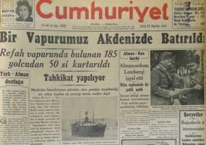 Modern Turkish newspaper Cumhuriyet, June 27, 1941