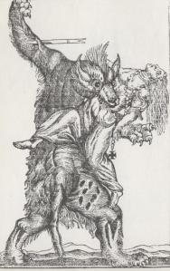Eighteenth-century engraving of a werewolf attack
