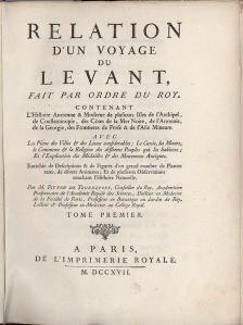 Title page of the account of Joseph Pitton de Tournefort's journey through the Levant